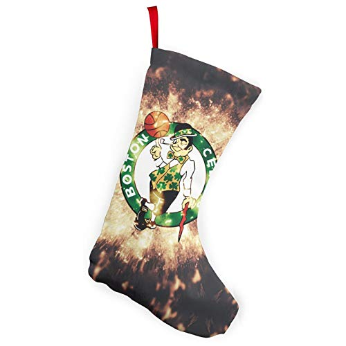 REECECAM Boston Basketball Celtics Christmas Stockings In 2 Packs, Suitable For Family 10-Inch Brushed Fabric Decorations, Used For Fireplace Holiday Parties