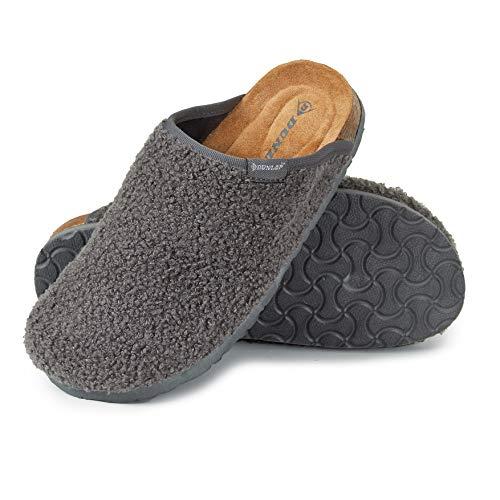 Dunlop Ciabatte Donna, Pantofole Invernali con Pelliccia, Babbucce Antiscivolo con Soletta Memory Foam, Ciabatta da Casa, Idea Regalo Compleanno E Natale (Grigio, Numeric_38)