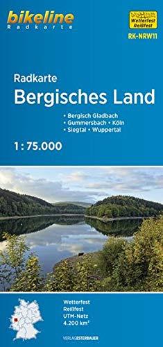 Radkarte Bergisches Land (RK-NRW11): Bergisch Gladbach – Gummersbach – Köln – Siegtal – Wuppertal. 1:75.000, wetterfest/reißfest, GPS-tauglich mit UTM-Netz (Bikeline Radkarte)