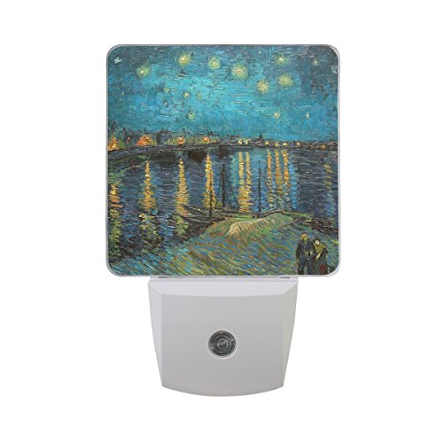 2 PC Plug-in LED Night Lights with Van Gogh Starry Night Over The Rhone Nightlights with Dusk to Dawn Sensor White Light Perfect for Bathroom Kitchen and Hallway Set 2