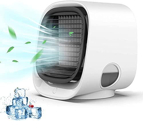ZXCVBN Aire Acondicionado Portátil, Mini Enfriador De Aire Evaporativo Personal con 3 Velocidades De Viento, 7 Colores, Luz Nocturna, Aire Acondicionado, Ventilador De Escritorio para El Hogar,A