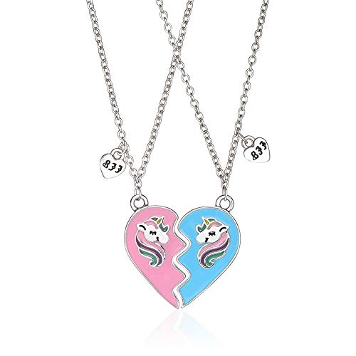 Joelili - Collar de plata de ley 925 con colgante de corazón para mejores amigos, mejores...