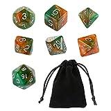 GWHOLE 7 Piezas Dados Poliédricos Dados para Juegos de rol y Mesa Dungeons y Dragons DND RPG MTG con Bolsa Negra (Brillo Verde)