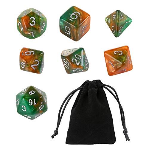 GWHOLE 7 Dadi poliedrici per Giochi di Ruolo Giochi da Tavolo Dungeons And Dragons - Verde