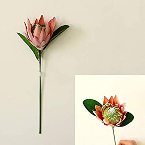Houchu Artificial Flower Silk King Protea DIY Flower Arrangement Fake Emperor Flowers Party Festive Bridal Bouquet Wedding Home Decor(Pink)