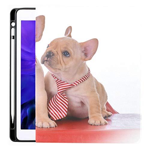 Funda para iPad Pro 12.9 2020 y 2018 con portalápices Dos Cachorros de Bulldog francés sentados en una Funda Inteligente Funda para iPad, admite Carga de lápiz de Segunda generación, Funda para iPad