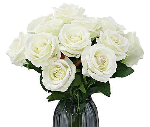 Olrla 12st weiße künstliche Rosen Blumen, Einzel Lange stamm-Blooming Rose Velvet für Braut Hochzeit Bouquets Home Hotel-büro-dekor (weiß 12)