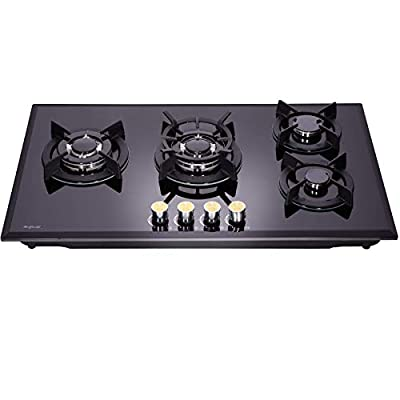 Hotfield 34 Inch Gas Cooktop Tempered Glass 5 Burners Stove top GH4188-01 Dual Fuel Gas Hob NG/LPG Convertible Gas Cooktop Tempered Glass