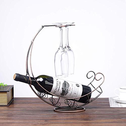 ytrew Kitchen Supplies Weinregal Weinhalter Eisen Weinregal Piratenschiff Form umgedreht Weinglas Rack hängend Becherhalter