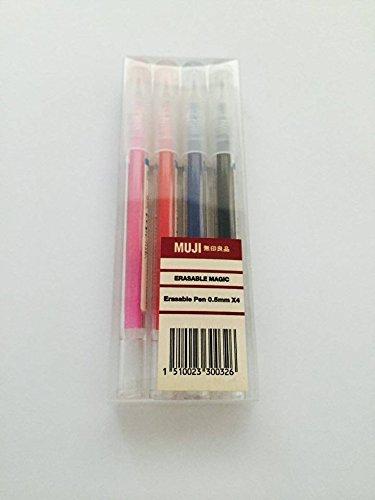Muji Bolígrafo de gel de tinta borrable, 0.5 mm, 4colores: rosa, rojo, azul y negro
