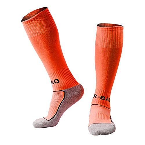 Yohope Calcetines de fútbol para niños Teamwear en Calcetines de Entrenamiento Escolar de Equipos de fútbol para niños y niñas de 8 a 13 años (Zapatos Europeos de Talla 33-37) (Naranja)
