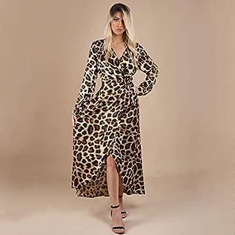 UNL maxi satin tiger V-neck dress