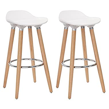 SONGMICS Set of 2 Bar Stools, Kitchen Counter Bar Breakfast Barstool, with Beechwood Legs, Height 28.8', White and Natural Wood Colour ULJB20W