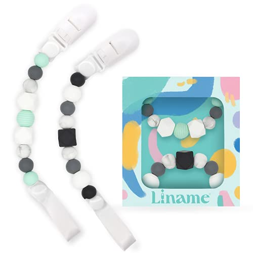 Pacifier Clips Girls Boys- 2 Pack Silicone Binky Holder Soothie Paci Clips- Pacifier Lanyard Fit All Soother Toys and Binkies- Food Grade Teething Beads Paci Holder Gift Set for Baby. (Mint, Gray)