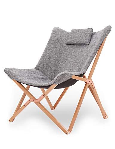 Suhu Klappstuhl Camping Stuhl Lounge Sessel Modern Design Retro Stühle Liegestuhl Klappbar Gartenliege Auflagen Hochlehner TV Relaxliege Mit Holzrahmen Stoff Für Balkon Hell Grau