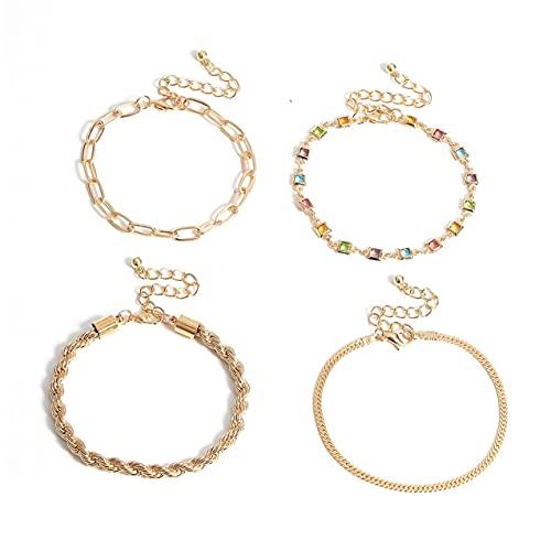 NewIncorrupt Pulsera con Conjunto de Diamantes geométricos de Colores Personalizados, Pulsera de Moda Dorada, Regalo versátil para Festival Femenino