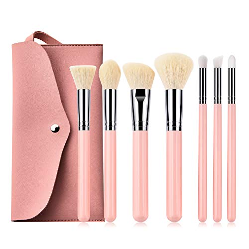 Pinceau de maquillage Kabuki , 7 pinceaux de maquillage professionnel Poudre de fondation Pinceau Blush Pinceau Pinceau for les yeux Brosse Comestic Pinceau Set Outil de maquillage avec un sac en cuir
