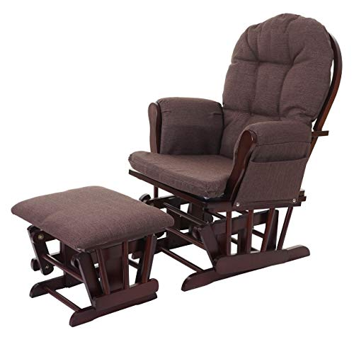 Mendler Relaxsessel HWC-C76, Schaukelstuhl Sessel Schwingstuhl mit Hocker, Stoff/Textil ~ Mahagony, Gestell braun