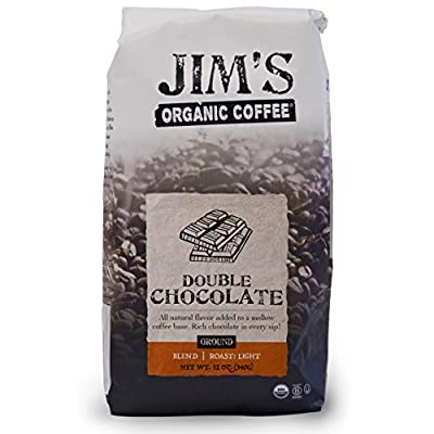 Jim's Organic Coffee – Double Chocolate, All Natural Flavored Blend – Light Roast, Ground Coffee, 12 oz Bag