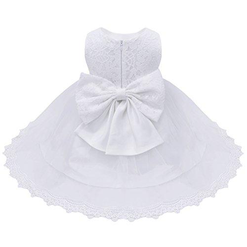 YiZYiF Bébé Filles Princesse Robe de Baptême en Dentelle Grande Noeud Papillon (6-9 mois, Blanc)