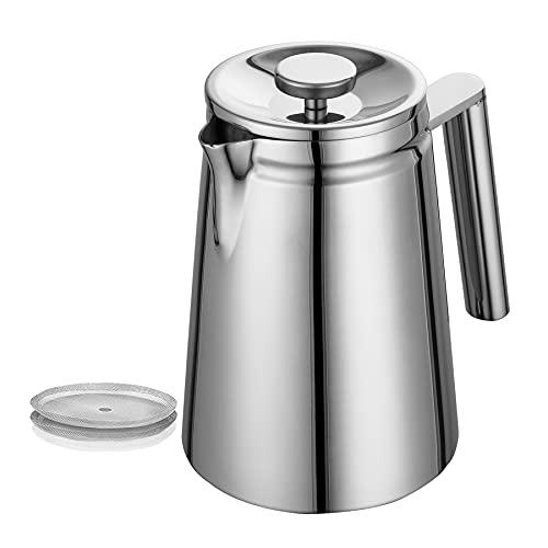 Miuly French Press Edelstahl 800ml, Doppelwandige Edelstahl Kaffeebereiter mit 2 zusätzlichen Filtersieben, Französische Kaffeepresse Silber 0,8 Liter (5 Tassen)