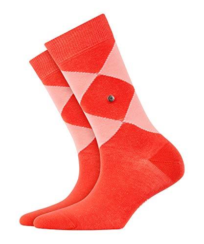 BURLINGTON Damen Socken Argyle Organic - 82prozent Baumwolle, 1 Paar, Rot (Coral Red 8542), Größe: 36-41