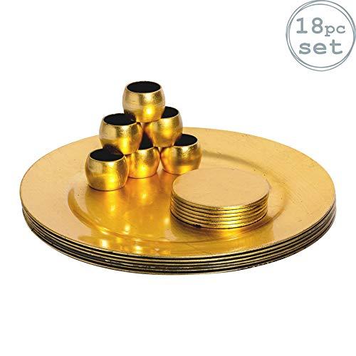 Argon Tableware Platos de Sitio y Posavasos y servilleteros - Dorados - Set de 18