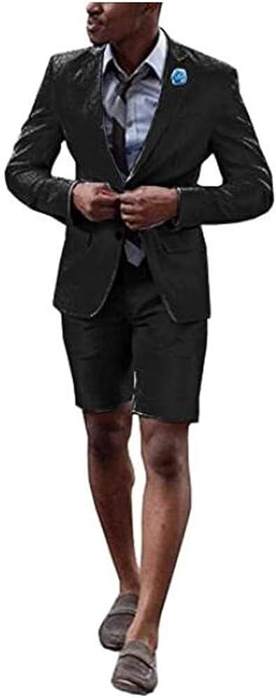 Summer Men Suits 2 Pcs Blazer with Short Pants Prom Grooms Wedding Tuxedo Business Suits