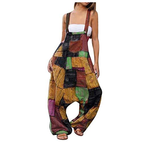 YANFANG Pantalones de Mujeres Mameluco con Estampado Bohemio para Mujer, Mono Largo con Botones, Mono Holgado con Bolsillo