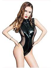 Dames Wetlook Lakleer See Through Mesh Splice Rits Open Kruis Hoog Uitgesneden String Bodysuit Badpak,Black,L