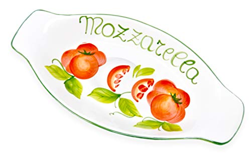Lashuma Ovale Flache Keramikschüssel, Servierschale für Obst, Gemüse, Salat, Motiv Mozzarella Größe 27 x 13 cm