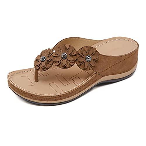 LIYDENG Sandalias Pantuflas Mujer Pantuflas Flor Zapatillas Planas Zapatillas de Verano Sandalias Al Aire Libre Sandalias (Color: Marrón, Talla: 13)