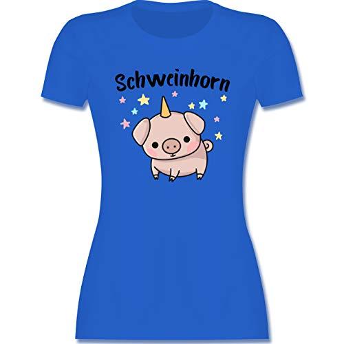 Karneval & Fasching - Schweinhorn - L - Royalblau - Schwein t-Shirt - L191 - Tailliertes Tshirt für Damen und Frauen T-Shirt