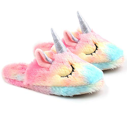 Unicornio Zapatillas de Estar por casa para Mujer, Zapatillas de Casa Invierno con Suela Antideslizante, Talla Europea: 35-38