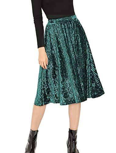 Allegra K Women's Elegant Office Elastic Waist Vintage Velvet A-Line Midi Skirt S Green
