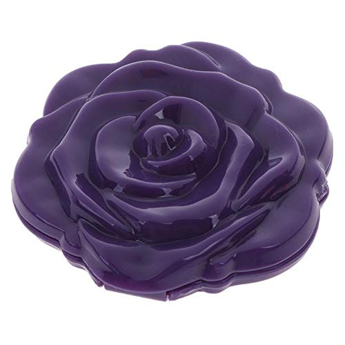 LASISZ Make Up Miroir Portable Double Face Make Up Mirror Mini Rose Flower Compact Girls Pocket Mirror Unique Gift, Violet