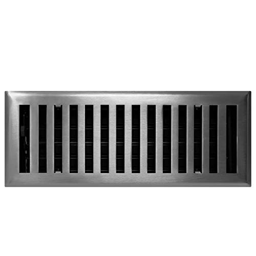Madelyn Carter Contemporary Solid Brass 4' x 12' Floor Vent Cover, Brushed Nickel