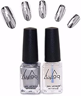 Generic 2Pcs/Set Magic Mirror Effect Metallic Silver Nail Art Varnish Polish & Base Coat