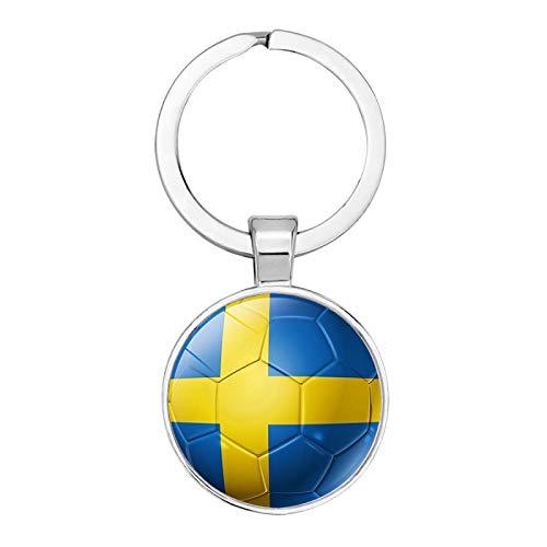 YANYING Persönlichkeit Schlüsselbund Fußball Flagge Zeit Edelstein Schlüsselring Auto Anhänger Schweden