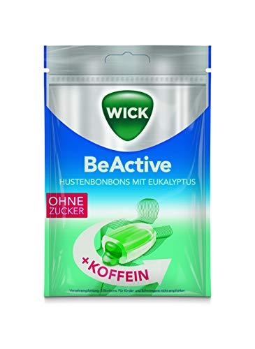WICK Beactive Hustenbonbons ohne Zucker - mit Eukalyptus und Koffein, 72 g