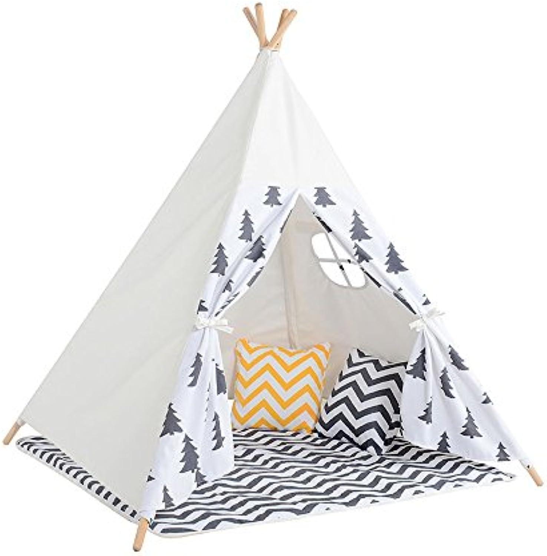 Wadwo Kinder-Spiel-Zelt-graues blaues Baum-Muster-indisches Zelt Vier Ecken der Zelte Innenim freiengarten-Zelt (schliet Nicht Spielwaren und Verzierungen EIN) -by Virtper