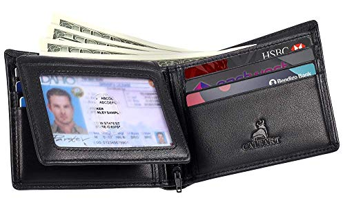 RFID Slim Front Pocket Wallets For Men - Genuine Leather Credit Card Mens Bifold Wallet With 2 ID Windows Zipper Coin Stylish Passcase