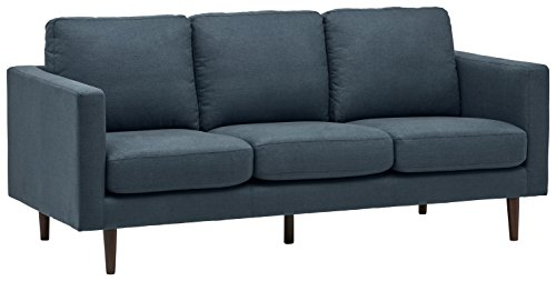 "Amazon Brand – Rivet Revolve Modern Upholstered Sofa Couch, 80""W, Denim Blue"