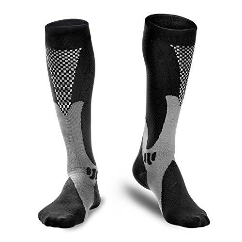 Calcetines deportivos de compresión Odoland, calcetines auténticos para recuperación y rendimiento, calcetines de compresión para correr, atletas, enfermeras, espinilleras, viajes de vuelo y embarazo premamá de hombres y mujeres ((1 PAR) Negro Pequeña)