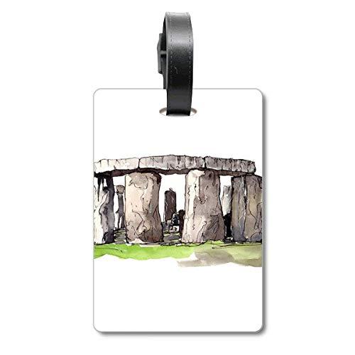 Stonehenge in Wiltshire - Etiqueta de identificación para Maleta, diseño de Bandera de Inglaterra