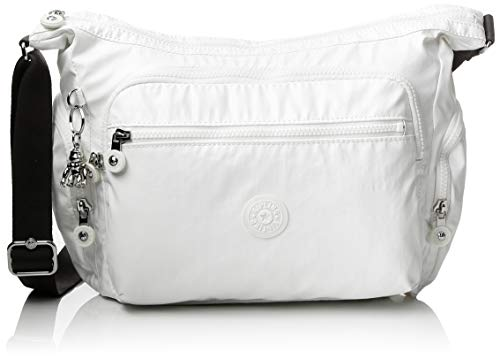 Kipling Gabbie S, Borsa a Tracolla Donna, Bianco (White Metallic), 29x22x16.5 cm
