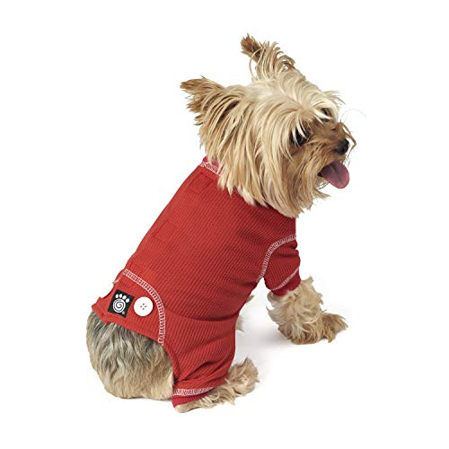 PetRageous Cozy Thermal Pajamas for Pets, X-Small, Red with White Stitching