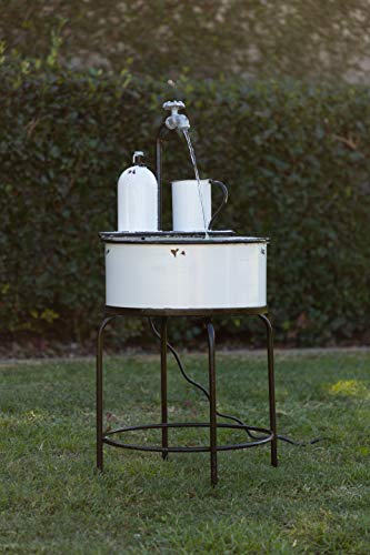 Alpine Corporation YHL168 Antique Vintage Sink Metal Fountain & Stand, 34 Inch Tall, White