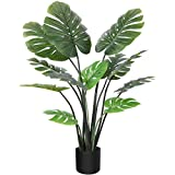 CROSOFMI Artificial Monstera Deliciosa Plant 47 Inch Fake Tropical Palm Tree, Perfect Faux Swiss Cheese Plants in Pot for Indoor Outdoor House Home Office Garden Modern Decoration Housewarming Gift