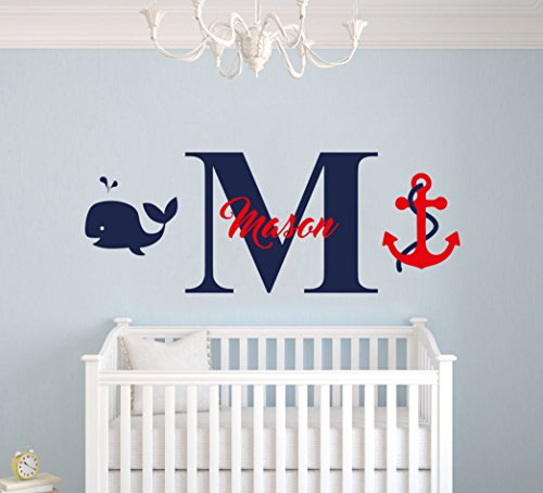 e-Graphic Design Inc Custom Name & Initial Whale Anchor - Nautical Series - Baby Boy Girl Decoration - Mural Wall Decal Sticker for Home Interior Decoration Car Laptop (MM40) (Wide 22' x 8' Height)